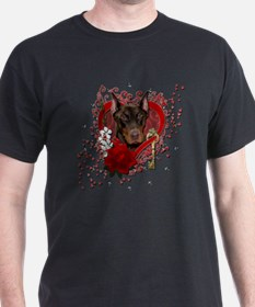 Valentine_Red_Rose_Doberman_Rocky T-Shirt
