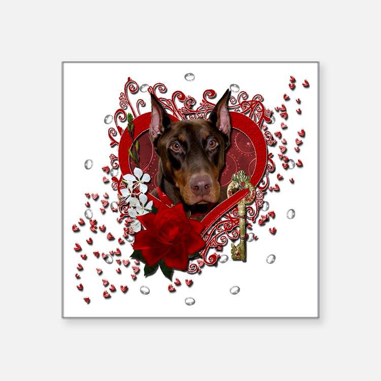 "Valentine_Red_Rose_Doberman Square Sticker 3"" x 3"""