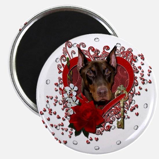 Valentine_Red_Rose_Doberman_Rocky Magnet