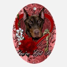 Valentine_Red_Rose_Doberman_Rocky Oval Ornament