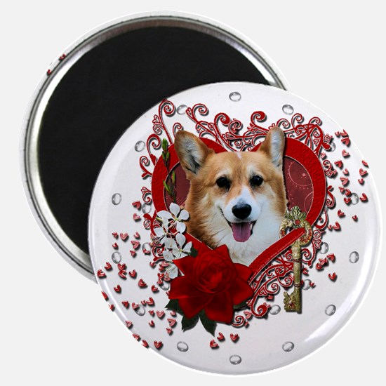 Valentine_Red_Rose_Corgi_Owen Magnet