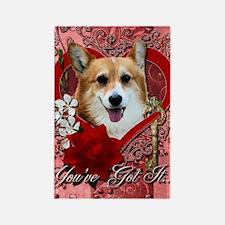 Valentine_Red_Rose_Corgi_Owen Rectangle Magnet