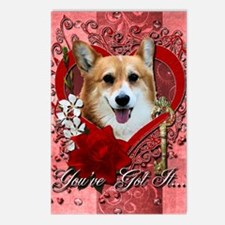Valentine_Red_Rose_Corgi_ Postcards (Package of 8)