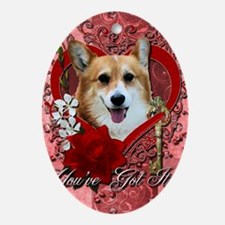 Valentine_Red_Rose_Corgi_Owen Oval Ornament