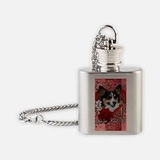 Valentine_Red_Rose_Corgi Flask Necklace