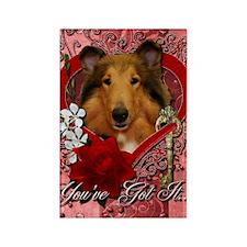 Valentine_Red_Rose_Collie_Natalie Rectangle Magnet