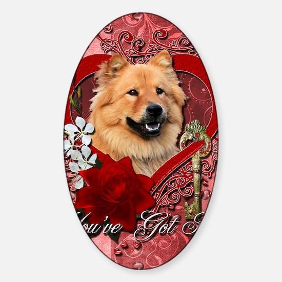 Valentine_Red_Rose_Chow_Chow_Cinny Sticker (Oval)