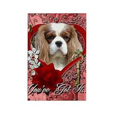 Valentine_Red_Rose_Cavalier_Lght Rectangle Magnet