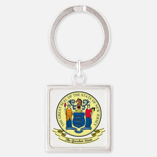 New Jersey Seal Square Keychain