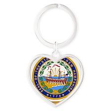 New Hampshire Seal Heart Keychain