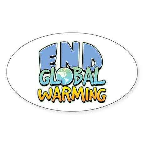 End Global Warming Oval Sticker