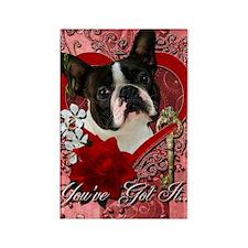 Valentine_Red_Rose_Boston_Terrier Rectangle Magnet