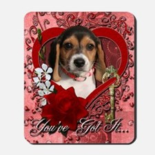 Valentine_Red_Rose_Beagle_Puppy Mousepad