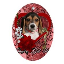 Valentine_Red_Rose_Beagle_Puppy Oval Ornament