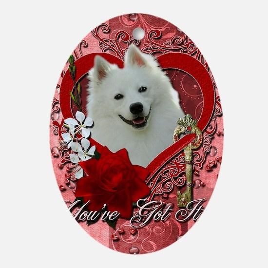 Valentine_Red_Rose_American_Eskimo Oval Ornament