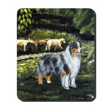 aussie blue merle w sheep Mousepad