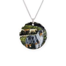 aussie blue merle w sheep Necklace