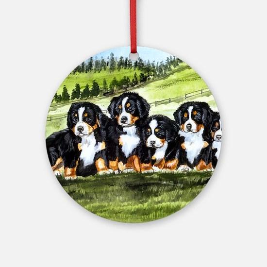 berner farm pups Round Ornament