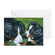 Berner mom and pup Greeting Card