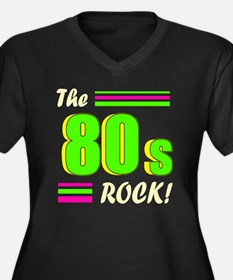 the 80s rock Women's Plus Size Dark V-Neck T-Shirt