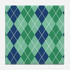 Blue and Green Argyle Tile Coaster