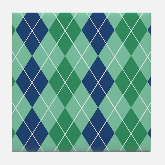 Blue and Green Argyle Tile Coaster