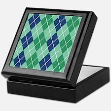 Blue and Green Argyle Keepsake Box