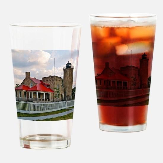 Mackinaw City Light house Drinking Glass