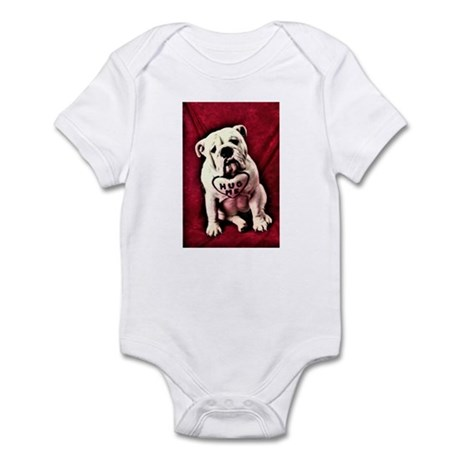 Hug Me Bulldog Valentine Funny Infant Bodysuit