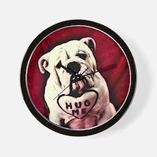 Hug Me Bulldog Valentine Funny Wall Clock