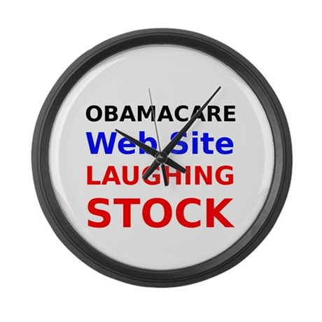 Obamacare Web Site Laughing Stock Large Wall Clock