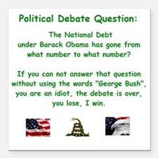 "Political Debate Questio Square Car Magnet 3"" x 3"""