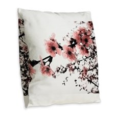 Cherry Blossoms Burlap Throw Pillow