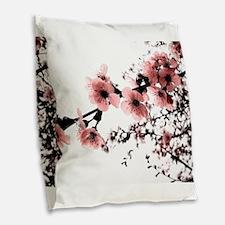 Cherry Blossoms Burlap Throw Pillow
