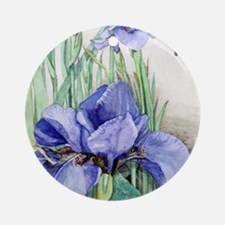 Purple Iris Round Ornament
