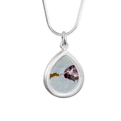 God_Giving_Life_To_Da_U. Silver Teardrop Necklace