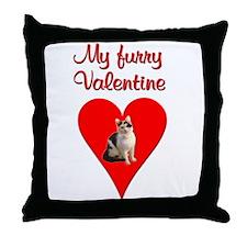 Furry Valentine Cat2 Throw Pillow