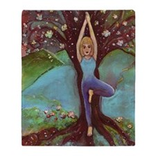 Yogini in Tree Pose Throw Blanket