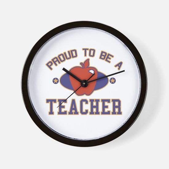 Collegiate Proud Teacher Wall Clock