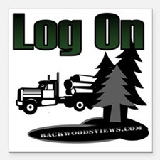 """LOG ON DESIGN SEMI AND T Square Car Magnet 3"""" x 3"""""""