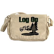 LOG ON DESIGN SEMI AND TREES.gif Messenger Bag