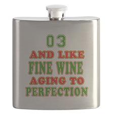 Funny 03 And Like Fine Wine Birthday Flask