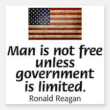 "Reagan - Man is Not Free Square Car Magnet 3"" x 3"""