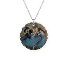 Dancers in blue by Edgar Deg Necklace Circle Charm