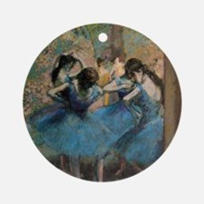 Dancers in blue by Edgar Degas Round Ornament