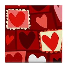 Red Pop Art Hearts Valentine Tile Coaster