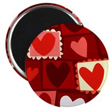 Red Pop Art Hearts Valentine Magnet