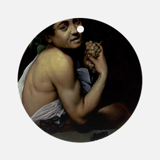 The Sick Bacchus by Michelangelo Ca Round Ornament
