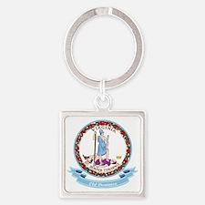 Virginia Seal Square Keychain