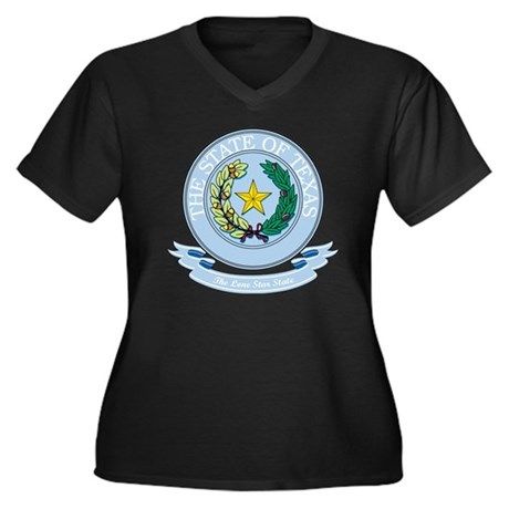 Texas Seal Women's Plus Size Dark V-Neck T-Shirt